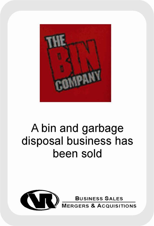 Bin and garbage disposal business sale